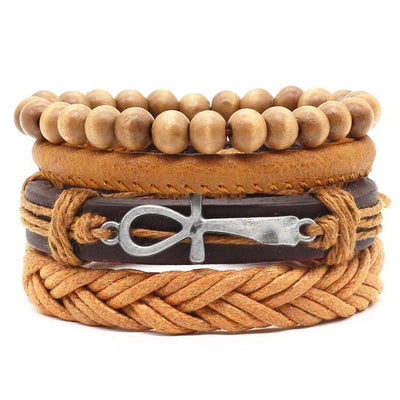 Unisex Leather Charm Bracelet Set (4Pcs) - Style 2