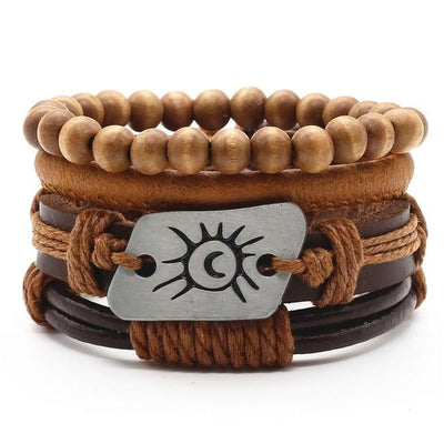 Unisex Leather Charm Bracelet Set (4Pcs) - Style 6