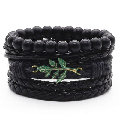Unisex Leather Charm Bracelet Set (4Pcs) - Style 8