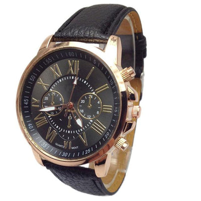 Roman Numerical Dial Leather Watch - Black