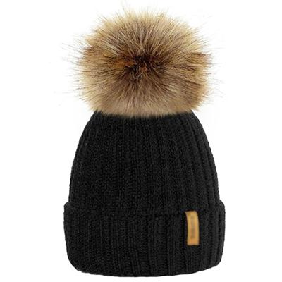 Winter Fur Pom-Pom Hat - Black