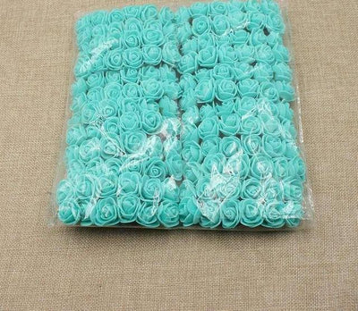 Artificial Small Rose Flower Head (144Pcs) - Tiffany blue