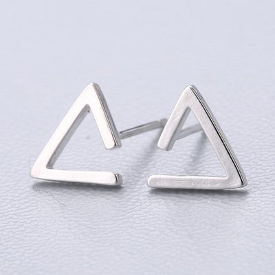 Casual Silver Stud Earrings - Triangle
