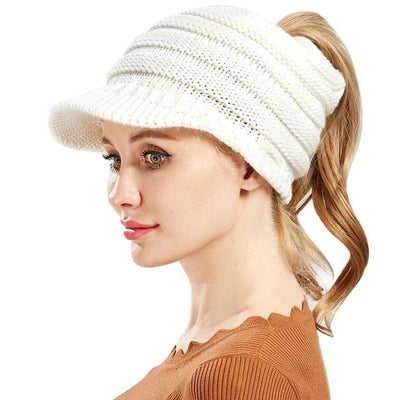 Ponytail Warm Knitted Beanie With Visor - White