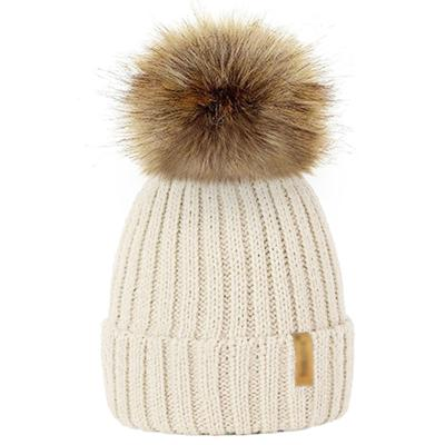 Winter Fur Pom-Pom Hat - White