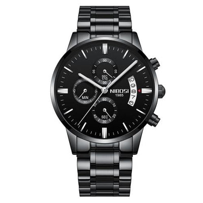 Multi-Feature Quartz Wrist Watch - Whole Black Steel