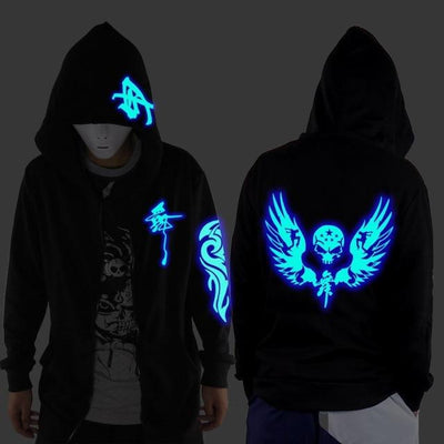 Blue Rave Ghost Hoodie - Wing skeleton / XXS