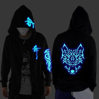 Blue Rave Ghost Hoodie - Wolf / XXS