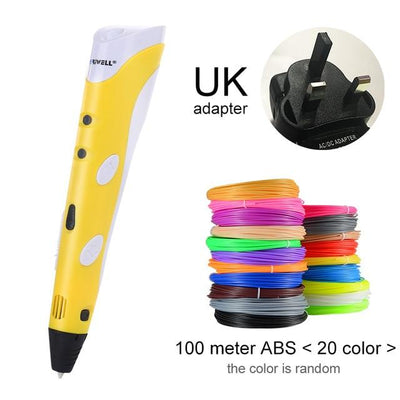 3D Doodler Printing Pen - Yellow UK-100m ABS