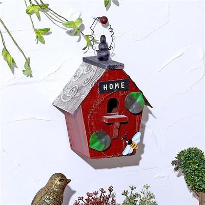 Wooden Bird House - Red / 15X12X20CM