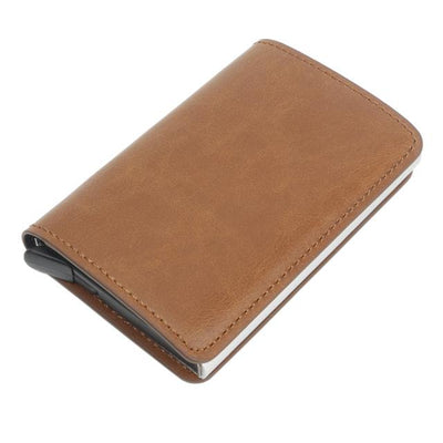 Antitheft Tactical Leather Wallet - Yellow brown