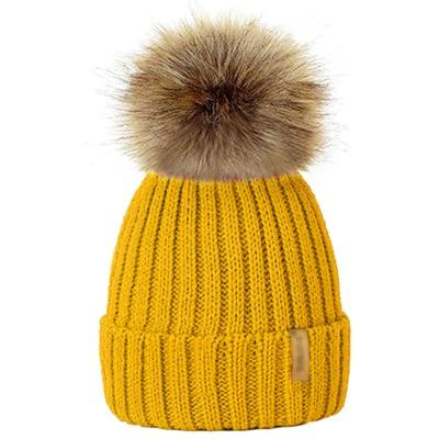 Winter Fur Pom-Pom Hat - Yellow