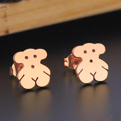 Romantic Mickey Bear Stud Earrings - Bear / Rose