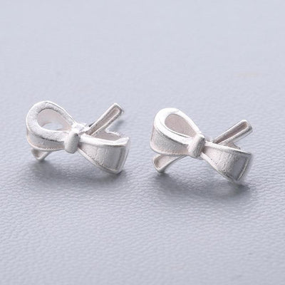 Casual Silver Stud Earrings - Big Bow-knot