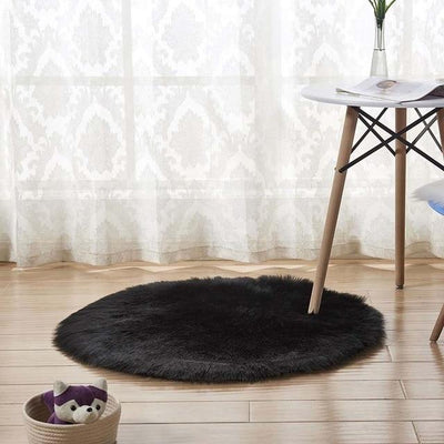Round Sheepskin Faux Fur Rug - Black / 60cm