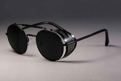 Steampunk Round Sunglasses - Black Black