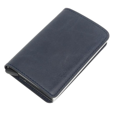 Antitheft Tactical Leather Wallet - blue