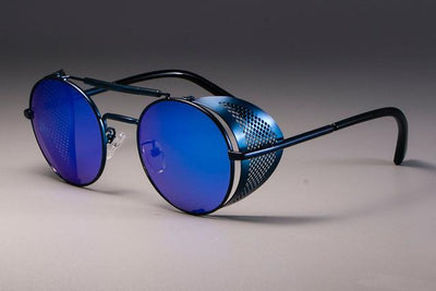 Steampunk Round Sunglasses - Blue Blue