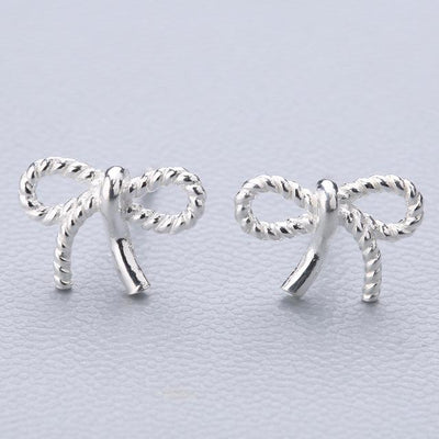 Casual Silver Stud Earrings - Bow-knot