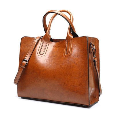 Large Leather Bag - Brown