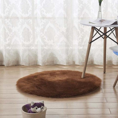 Round Sheepskin Faux Fur Rug - Brown / 60cm