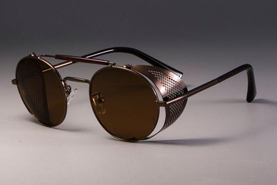 Steampunk Round Sunglasses - Brown Tea