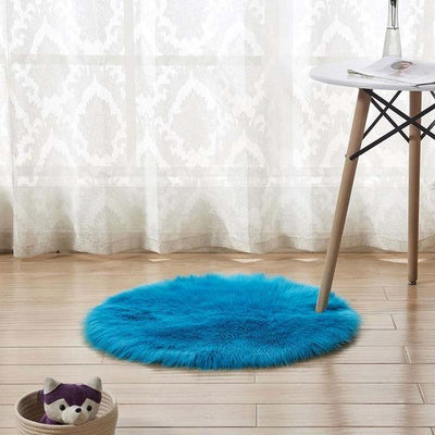 Round Sheepskin Faux Fur Rug - Bark Blue / 60cm