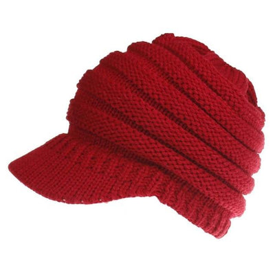 Ponytail Warm Knitted Beanie With Visor - Red