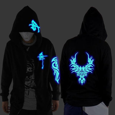 Blue Rave Ghost Hoodie - dragon design / XXS