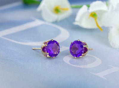 Crystal Dainty Stud Earrings - gold purple