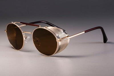Steampunk Round Sunglasses - Gold Tea
