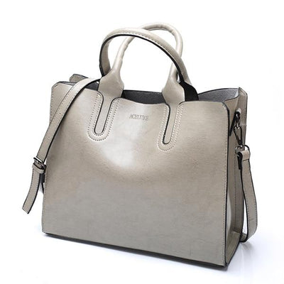 Large Leather Bag - Gray