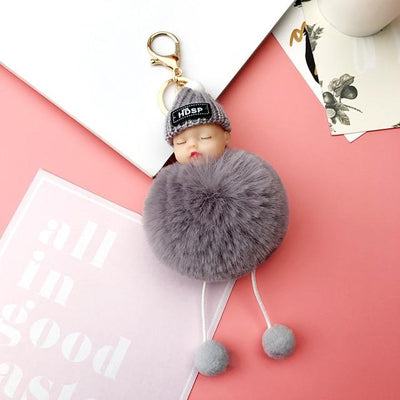 Adorable Fur Ball Doll Key Rings - Gray