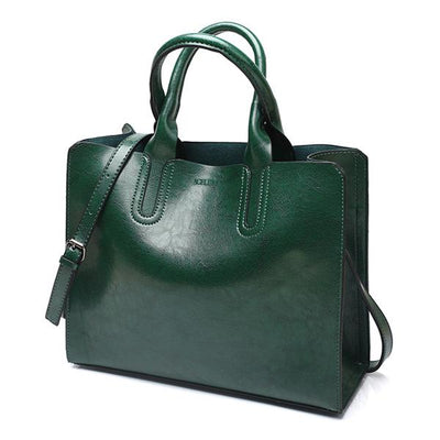 Large Leather Bag - Green