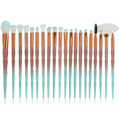 20pcs Diamond Makeup Brushes - green