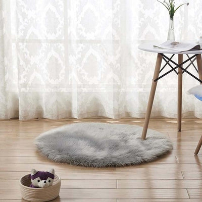 Round Sheepskin Faux Fur Rug - Grey / 60cm