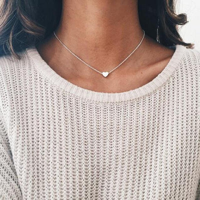 Heart Shape Chokers Necklace - Silver