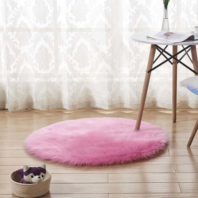 Round Sheepskin Faux Fur Rug - Hot Pink / 60cm