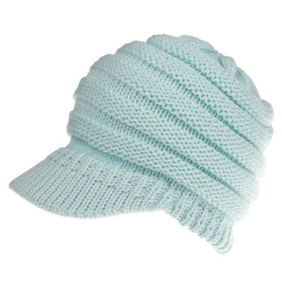Ponytail Warm Knitted Beanie With Visor - Light Blue