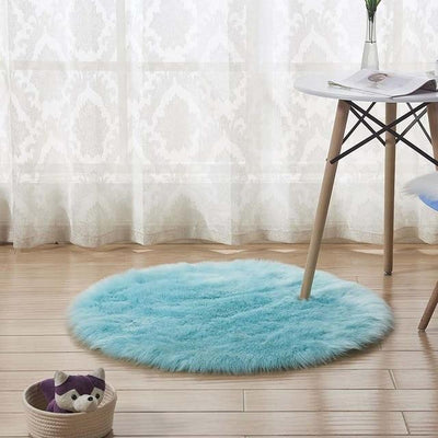 Round Sheepskin Faux Fur Rug - Light Blue / 60cm