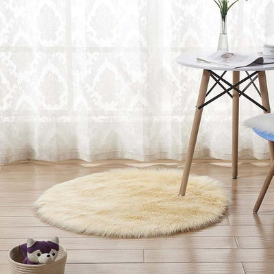 Round Sheepskin Faux Fur Rug - Light Yellow / 60cm
