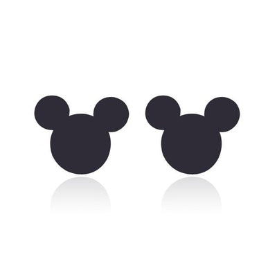 Romantic Mickey Bear Stud Earrings - Mickey / Black