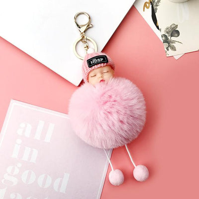Adorable Fur Ball Doll Key Rings - Pink