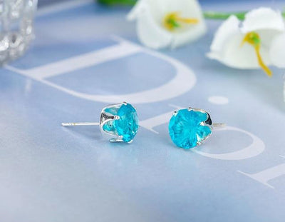 Crystal Dainty Stud Earrings - platinum lake blue