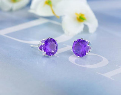 Crystal Dainty Stud Earrings - platinum purple