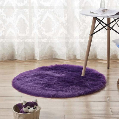 Round Sheepskin Faux Fur Rug - Purple / 60cm
