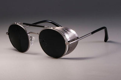 Steampunk Round Sunglasses - Silver Black