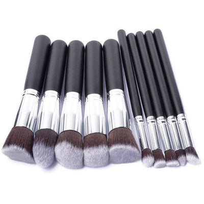 Flawless Makeup Brush - 10 PCs - Silver - Black