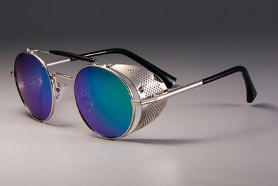 Steampunk Round Sunglasses - Silver Green