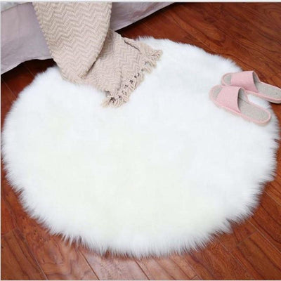 Round Sheepskin Faux Fur Rug - White / 60cm